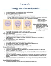 Lecture 5 - Energy and Thermodynamics