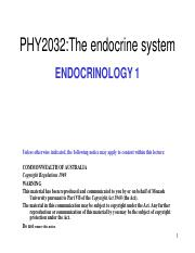 Lecture 1 - Endocrinology 1