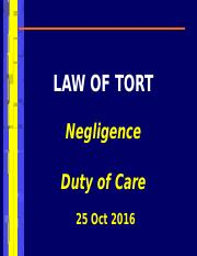 tort duty of care (Oct 25)