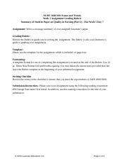 Week 5 Assignment Quality in Nursing Part Two (Word Document) Rubric