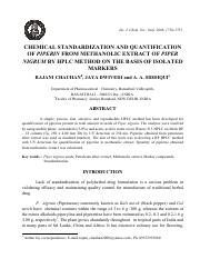 Chemical Standardiztion auantification of piperin from methanolic extract of piper nigrum by HPLC me