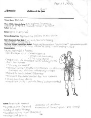 Artemis- Goddess of Hunt notes