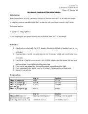 Gravimetric Analysis of Chloride in Solution Lab Report.docx