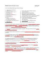 Worksheet BIO304 S17 L16 Gene-editing Tech and Gene Therapy with Answers