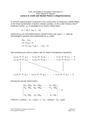 LCAO and Hückel Theory 1 (Eigenfunctions)