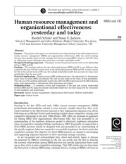 Human Resource Management Effectiveness Yesterday and Today(1) (1)