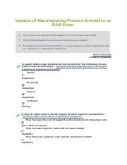 Impacts of Manufacturing Process Anomalies on RAM Exam module 11