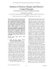 Solution of Territory Dispute and Effective Control Principle .pdf