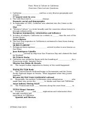 HTM 421 California lecture notes