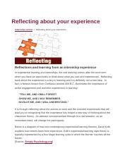 Reflecting about your experience.docx