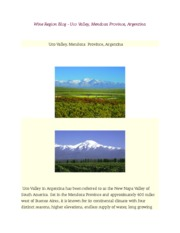 Wine Region Blog - Uco Valley, Mendoza Province, Argentina REPORT