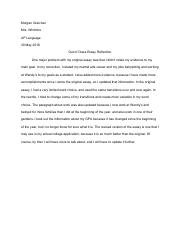 Out Of Class Essay Reflection
