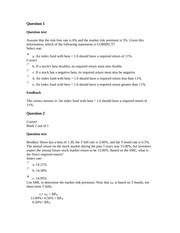 FINN 3226 Risk and Return (Part 1) Homework Answers