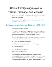 5.China Foriegn agression in Taiwan, Sinkiang, and Vietnam Notes