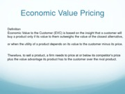 Economic Value Pricing (Presentation)