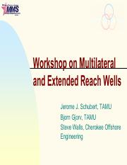 Lecture 17-Multilateral and Extended Reach Wells