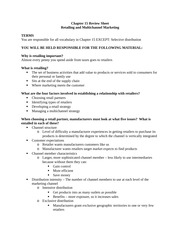 Retailing and Multichannel Marketing Review Sheet