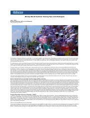 Disney World Summer Touring Tips and Strategies
