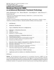 RADJENOVIC 2008 MBR as an Advanced Wastewater Treatment Technology