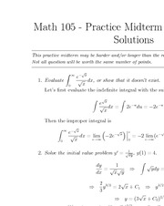 MATH 105 Fall 2011 Midterm 2 Practice Problems Set 1 Solutions