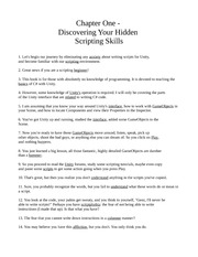 Chapter One - Discovering Your Hidden Scripting Skills
