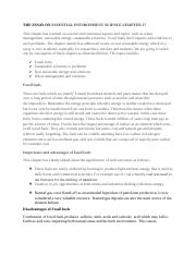 THE ESSAY ON ESSENTIAL ENVIRONMENT SCIENCE CHAPTER 17