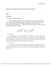 Stereochemical Analysis of the Reduction of Benzyl Lab