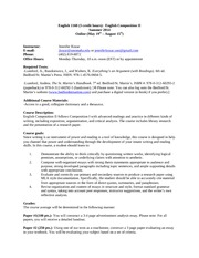 English 1160 Syllabus-Summer 2014