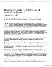 Chatfield, T. 2016 How much should we fear the rise of artificial intelligence The Guardian 18th Mar