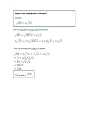 MATH 143 Square root multiplication