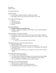 Psychology Chapter 2 Notes