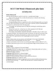ACCT 344 Week 6 Homework plus Quiz