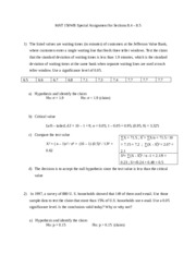 MAT 150WB Special Assignment for Sections 84 85