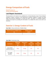 schuneman,C- Energy Comparison of Fuels