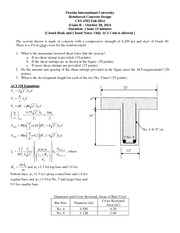 Exam 2 on Reinforced Concrete Design