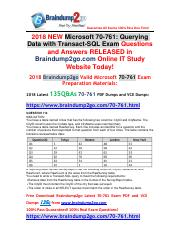 (2018-2-7)New Braindump2go 70-761 Dumps with PDF and VCE 135Q&As Free Share(114-122).pdf