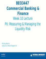 Week 10 Lecture Liquidity Risk