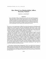 How Much Can Marketability Affect Security Values_