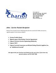 CHARIOT NEW CARRIER PACKET UPDATED