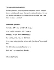Torque and Rotations Notes