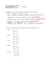Solve It Worksheet 8 Key F'16 - Reactions in Aqueous Solution
