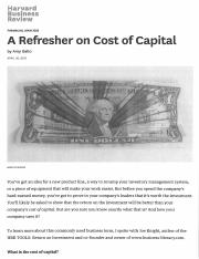 HBR A Refresher on the Cost of Capital.pdf