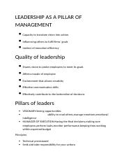 LEADERSHIP AS A PILLAR OF MANAGEMENT.docx