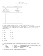 Homework IIStatistics Review