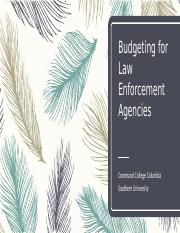 Budgeting for Law Enforcement Agencies