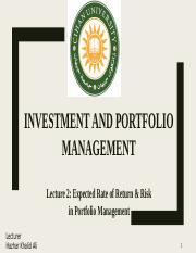 lect2 Expected Rate of Return & Risk in Portfolio Management.pptx