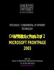Chapter 6 - part 2 Introduction to Microsoft Frontpage 2003.ppt