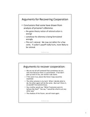 Lecture Notes on Arguments to Recover Cooperation
