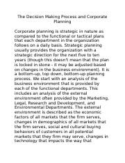 The Decision Making Process and Corporate Planning (1).docx