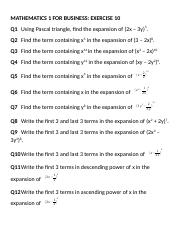 Maths Exercise 10